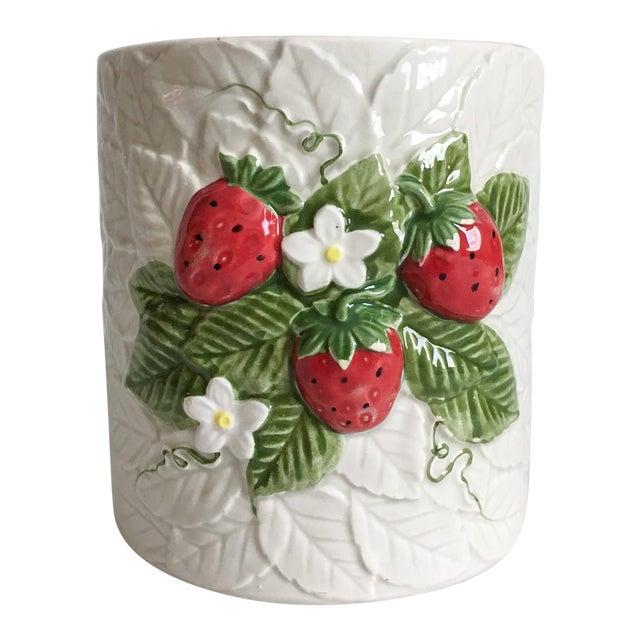 Image of Strawberry Relief Ceramic Cachepot
