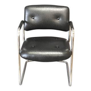 Leather Chrome Cantilever Side Chair