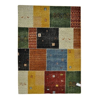 "Patchwork-Like Tribal Motifs Colorful Hand-Knotted Area Rug - 5'6"" X 7'8"""