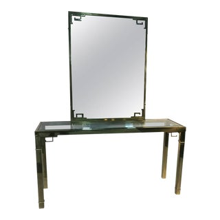 Solid Brass Italian Mirror & Console Table With Greek Key Design - a Pair