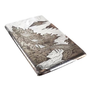 Silver & Mixed Metal Oriental Etched Cigarette Case