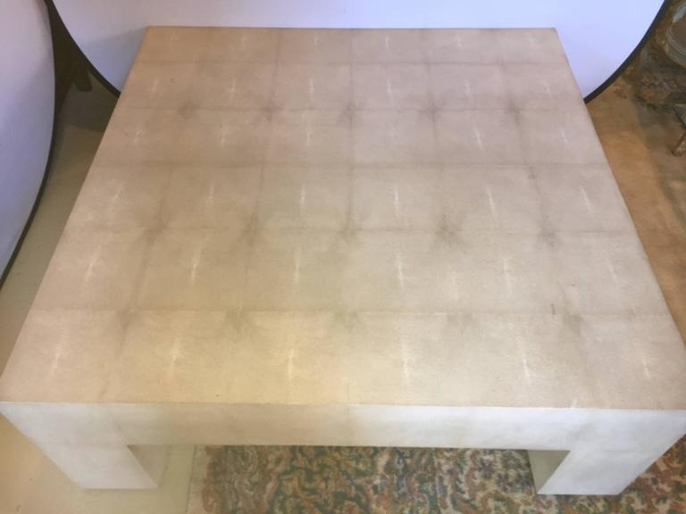 Palatial Karl Springer Style Linen Wrapped Coffee Table   Image 4 Of 7