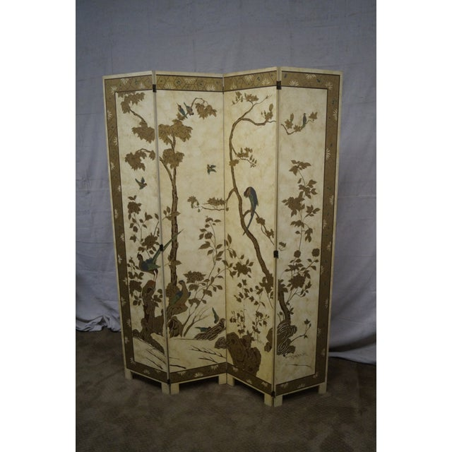 Vintage Chinoiserie Painted Folding Screen - Image 2 of 10