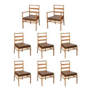 T.H. Robsjohn Gibbings Ladder-Back Chairs in Walnut, Set of Eight, USA, 1950s
