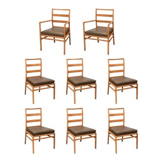T.H. Robsjohn Gibbings Ladder-Back Chairs in Walnut, Set of Eight, USA, 1950s