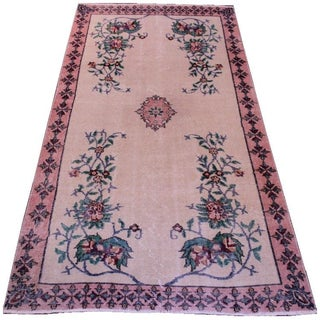 "Art Deco Vintage Turkish Area Rug - 3'8"" X 7'2"""