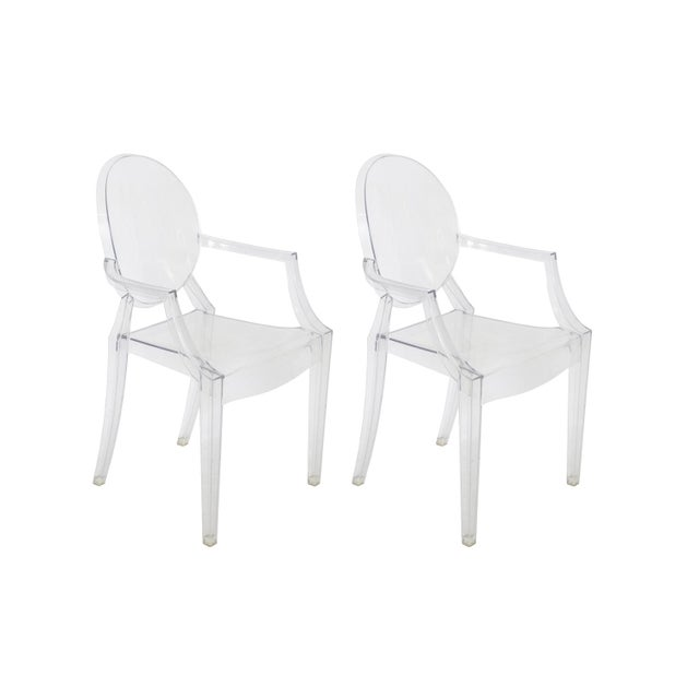Philip starck louis ghost chairs set of 10 chairish - Chaise starck louis ghost ...