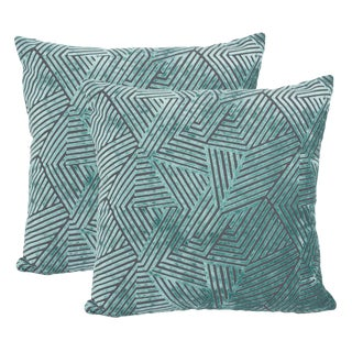 "Piper Collection Turquoise Velvet ""Olivia"" Pillows - a Pair"