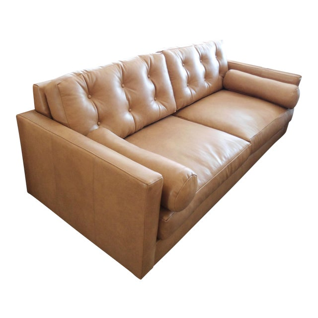 Modern Mocha Leather Sofa - Image 1 of 7