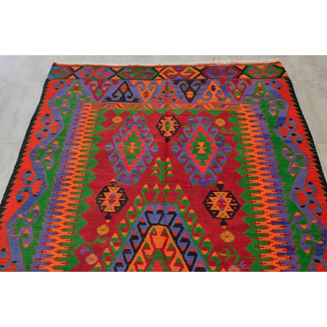 Turkish Kilim Hand Woven Wool Area Rug - 5′8″ X 9′4″ - Image 6 of 9