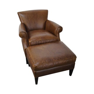 Brown Leather Chair & Ottoman by Crate & Barrel