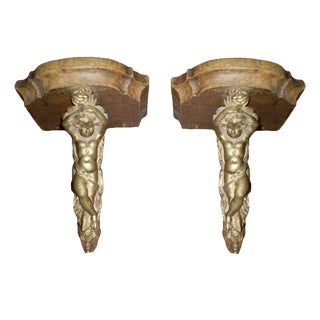 19th Century French Bronze and Wood Wall Brackets - A Pair
