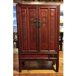 Image of Antique Chinese Red Carved Cabinet