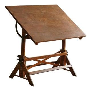 Antique Industrial American Oak Drafting Table