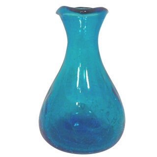 Blenko Mid-Century Azure Blue Crackle Glass Vase