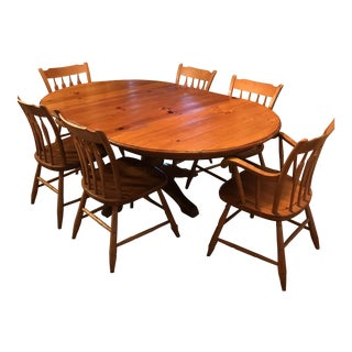 Ethan Allen Farmhouse Pine Table & Chairs- Set of 7