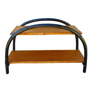 Tiki Style Black Bentwood & Mahogany Shelf