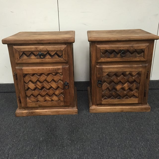 Image of Rustic Patterned Wood Nightstands - A Pair