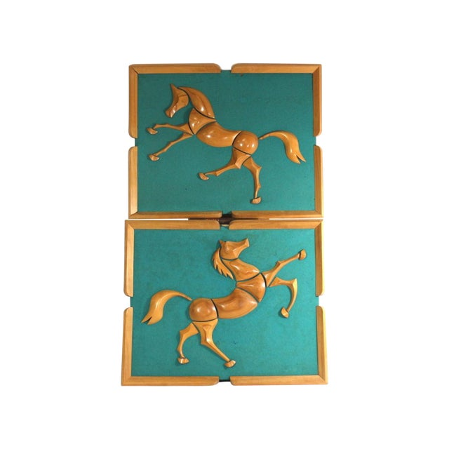1950s Turquoise Wood & Wool Horse Wall Art -A Pair - Image 1 of 6