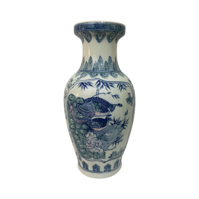 Image of Vintage Chinoiserie Hand Painted Peacock Vase
