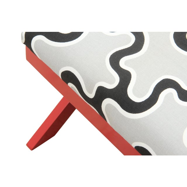 Cumulus Red Curule Bench - Image 3 of 7