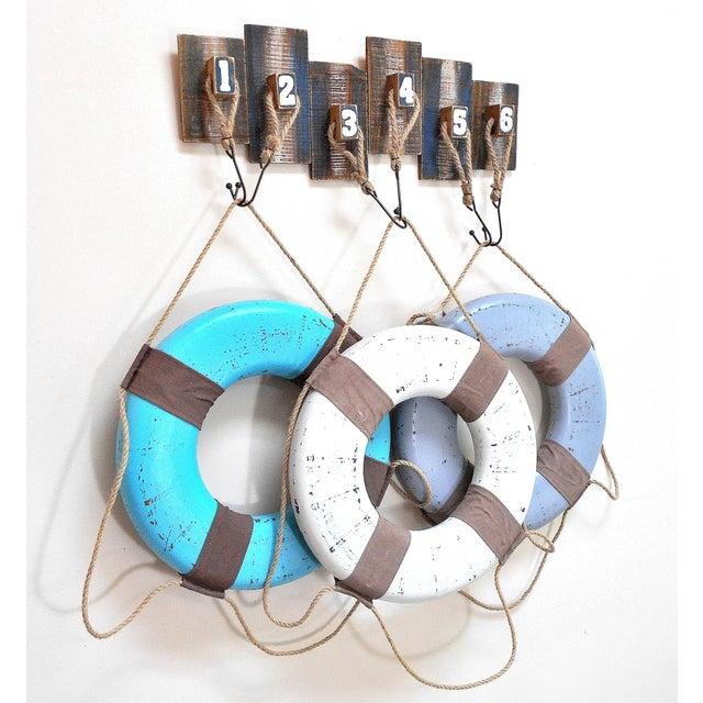 Vintage Life Rings & Weathered Nautical Wall Decor - Image 4 of 9