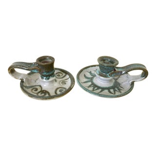 Studio Pottery Signed Candlestick Holders - a Pair