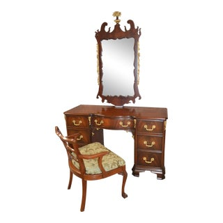 Vintage Regency Style Carved Mahogany Vanity, Mirror & Bench - Set of 3