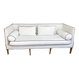 Anthropology White With Navy Piping Library Sofa