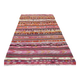 Vintage Turkish Kilim Area Rug - 4′11″ × 7′9″
