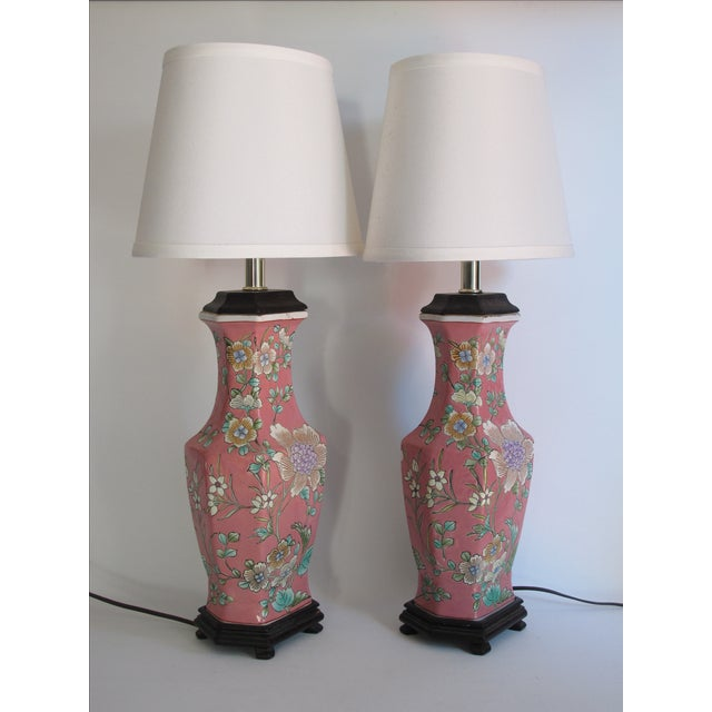 Vintage 1930s Pink Chinoiserie Lamps - A Pair - Image 8 of 10