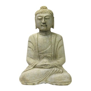 Chinese Off White Stone Buddha