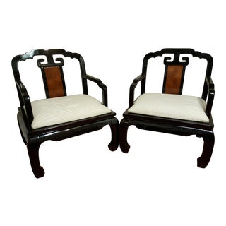 Chinoiserie Schnadig Horseshoe Chairs - A Pair