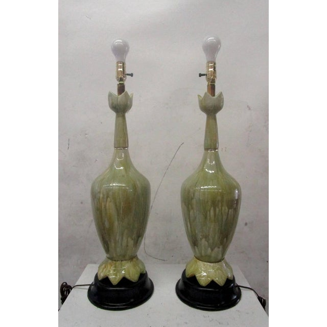 Green Ceramic Lamps With Flower Motif - Pair - Image 4 of 10