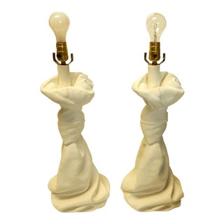 John Dickinson Style Drape Shaped Plaster Table Lamps - a Pair