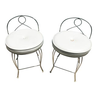 Vintage Hollywood Regency Chrome Vanity Stools - A Pair