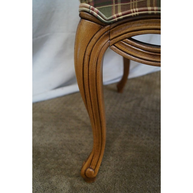 Fairfield French Style Plaid Upholstered Arm Chair - Image 6 of 10