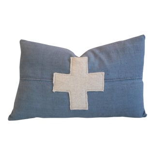 Custom Powder Blue Appliqué Cross Lumbar Feather/Down Pillow