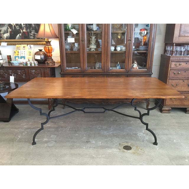 Plank Trestle Table With Iron Base - Image 2 of 10