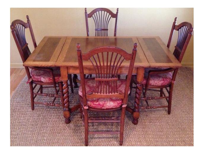 Carved English Oak Drop Leaf Dining Set   Image 1 Of 9