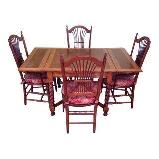Carved English Oak Drop Leaf Dining Set