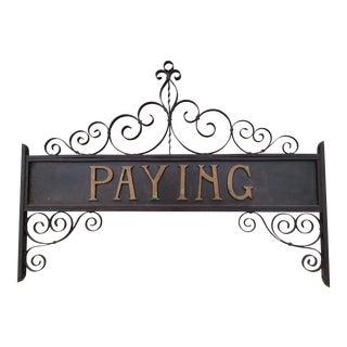 Vintage Iron & Bronze Bank Sign