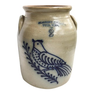 Maine Salt Glaze Pottery Bird Motif Crock