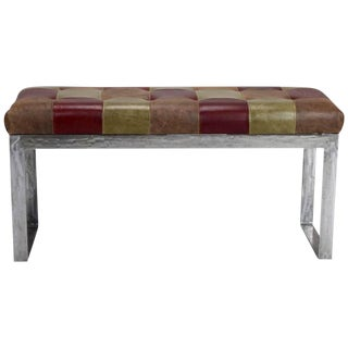 Mid-Century Steel & Leather Patchwork Bench