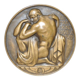 All Man Kind Love A Lover Bronze Medallion by Robert Aitken c.1930s