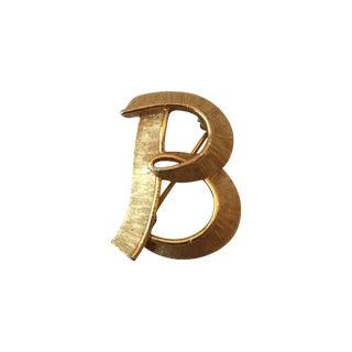 "Brushed Gold ""B"" Brooch"