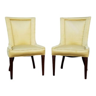 Yellow Velvet Parlor Chairs - A Pair