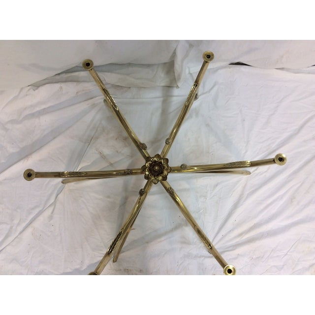Midcentury Brass Spider Leg Lotus Coffee Table - Image 4 of 7