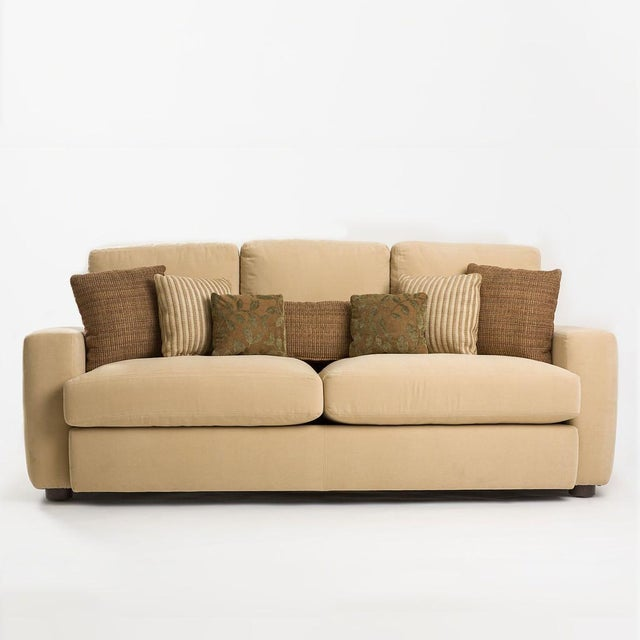Modern Accent Pillows For Sofa : Modern Melony Sofa With Three Accent Pillows Chairish