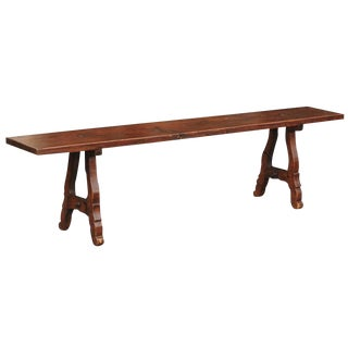 Spanish Late 19th Century Long Wooden Bench with Iron Stretcher